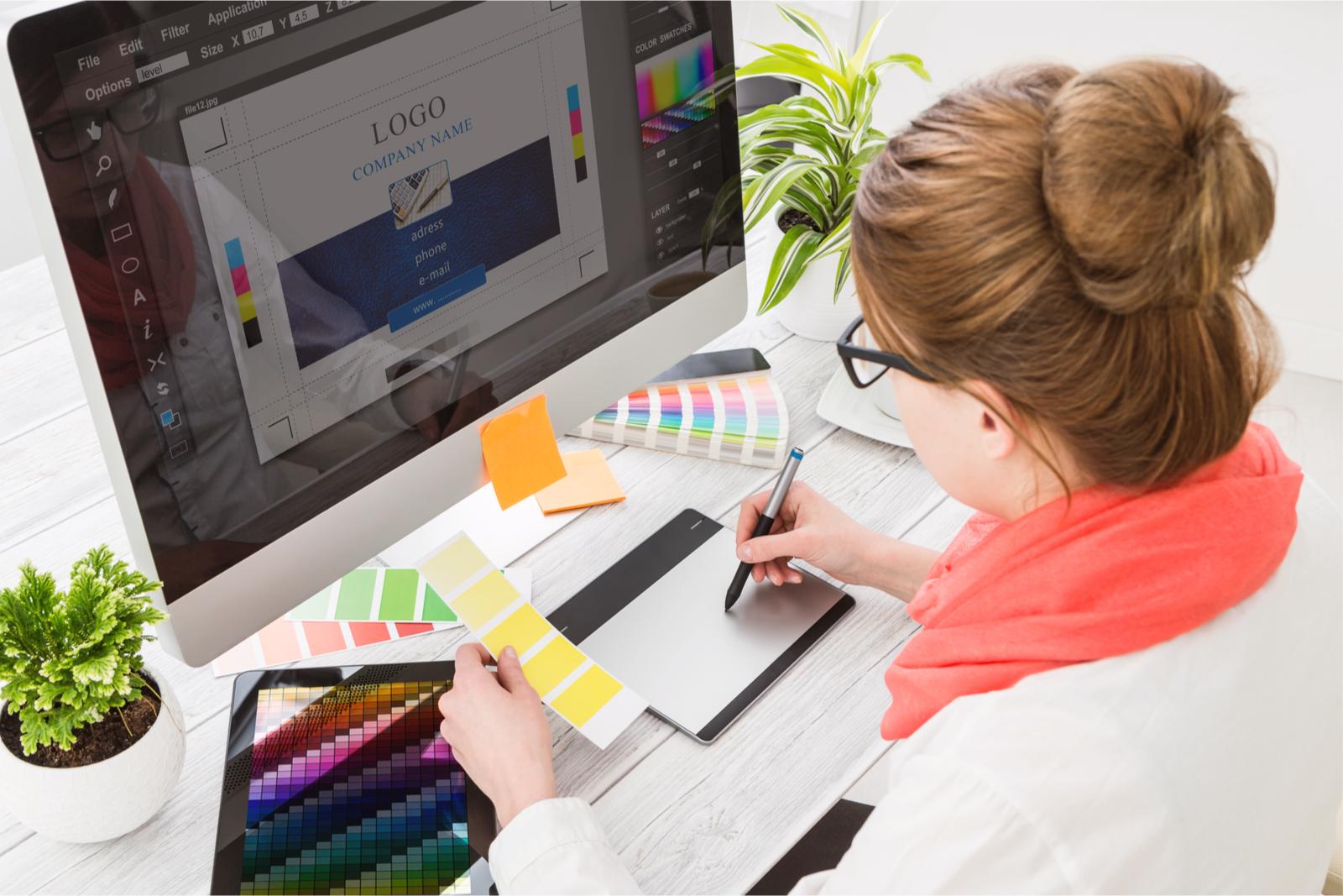 Graphic designer works on a logo