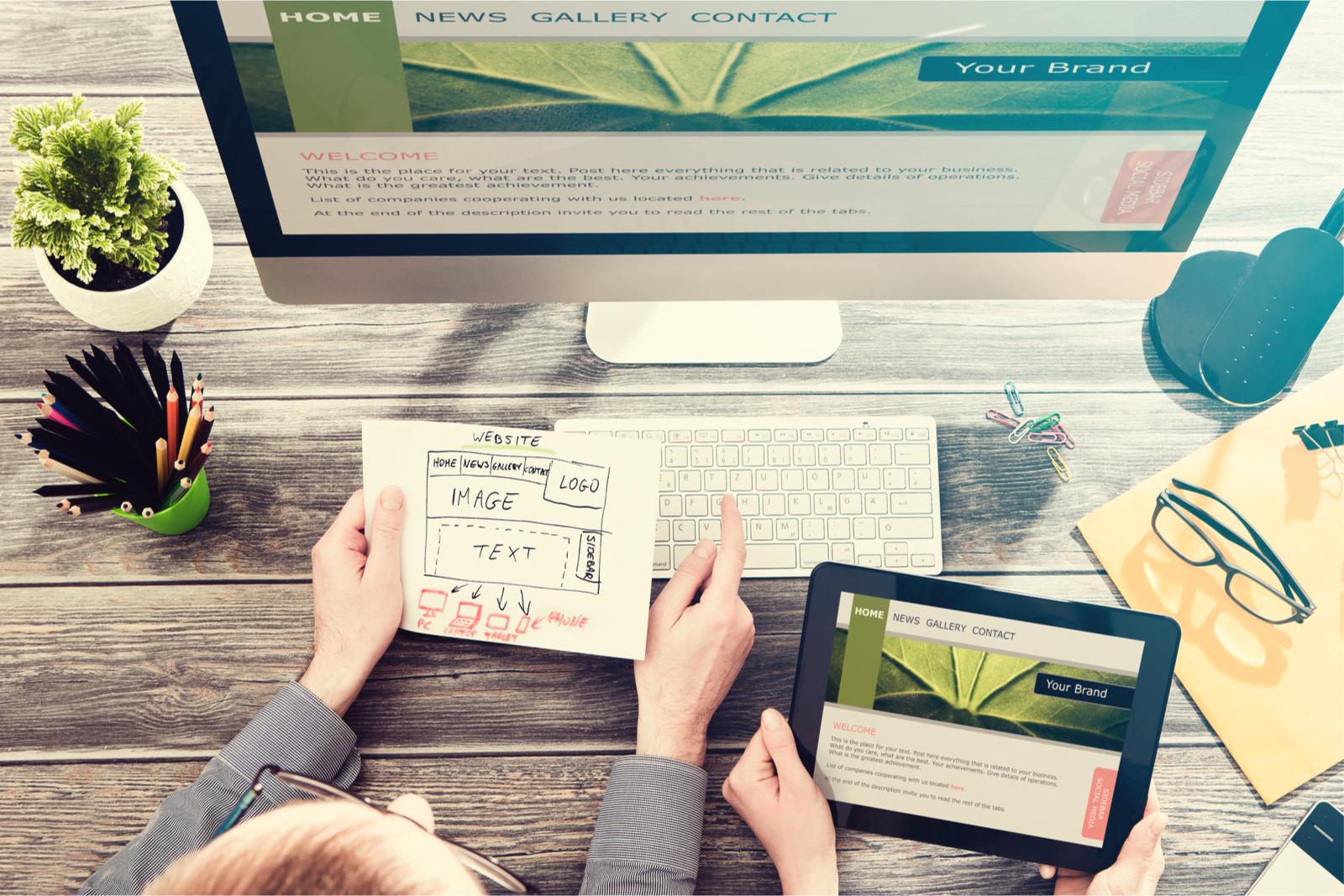 Website designers work on layout